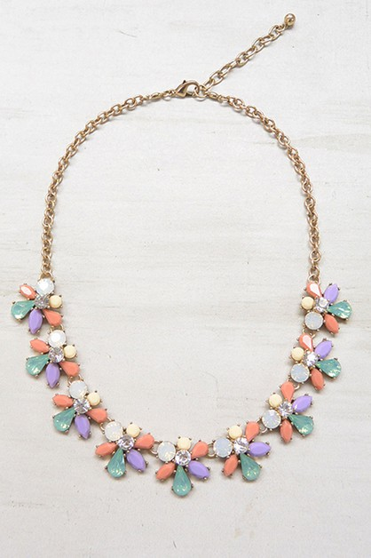 FASHION CLUSTER JEWELED NECKLACE - orangeshine.com