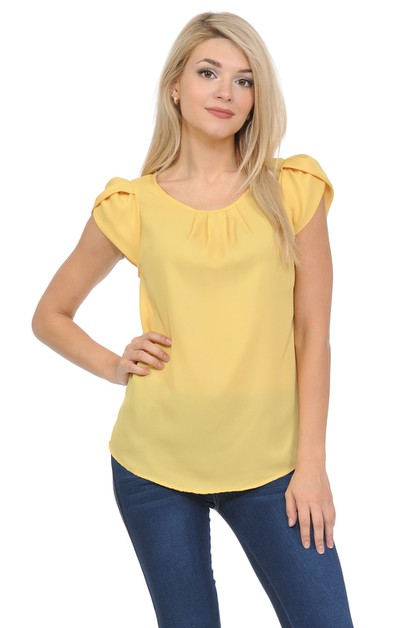 Petal Short Sleeve Pleated Woven Top - orangeshine.com