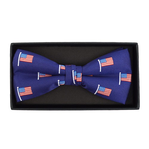 Men Blue American Flag Bow Tie - orangeshine.com