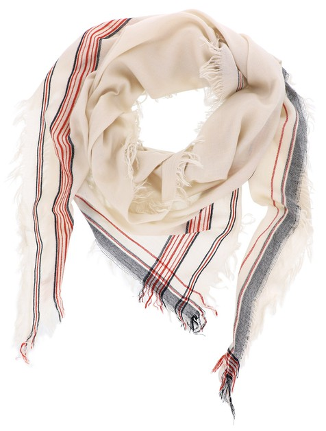 Beige Striped Triangle Scarf - orangeshine.com