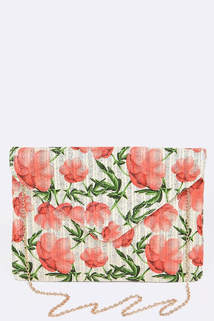 Flower Pattern Envelope Clutch - orangeshine.com