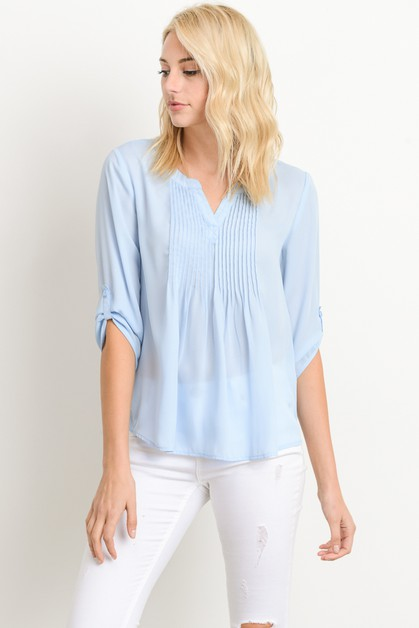 Pleat embellishment Blouse - orangeshine.com