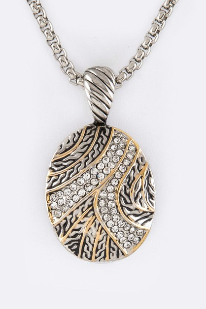 Crystal Swash Oval Pendant Necklace - orangeshine.com