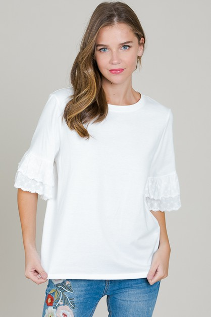 LACE RUFFLE SLEEVE TOP - orangeshine.com