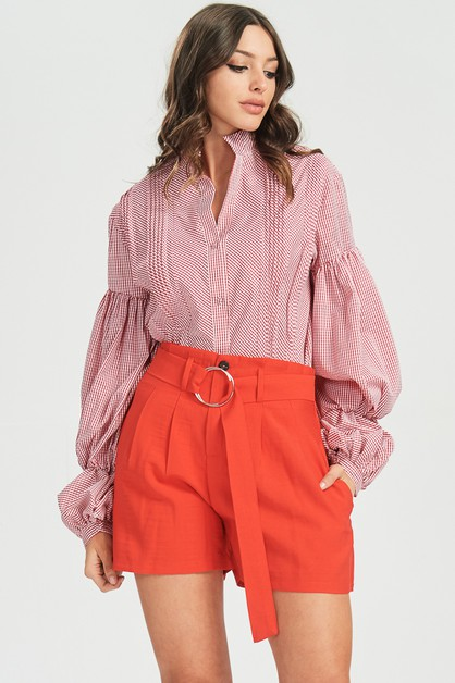 PINSTRIPED BUBBLE SLEEVE SHIRTS - orangeshine.com