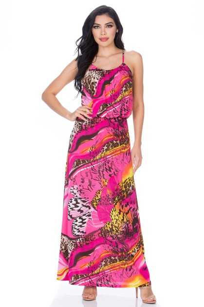 MIX PRINT MAXI DRESS - orangeshine.com