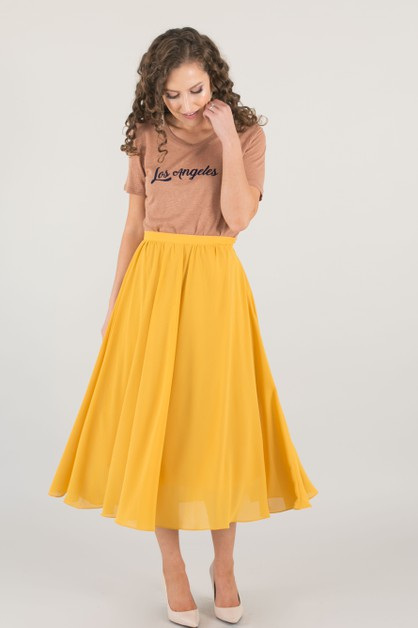 Yellow Flowy Midi Skirt - orangeshine.com