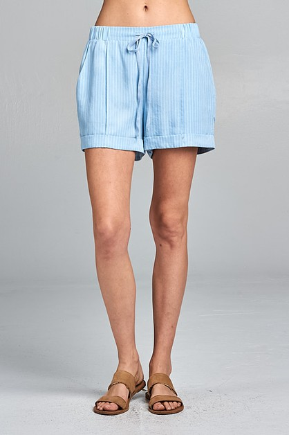 DRAWSTRING STRIPED SHORTS - orangeshine.com