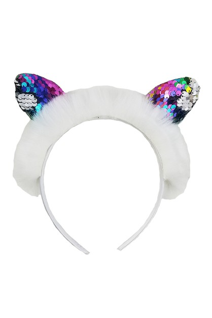 Mermaid Sequin Cat Ear Headband - orangeshine.com