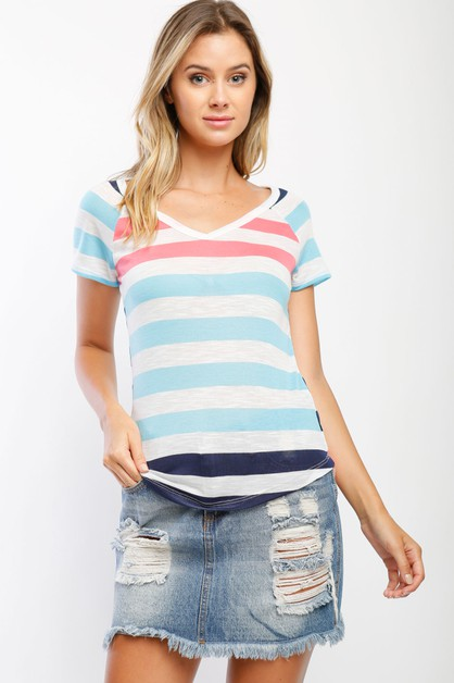 Short sleeve striped v-neck top - orangeshine.com