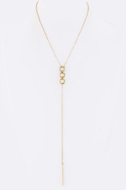 Linked Hoops Metal Bar Drop Necklace - orangeshine.com