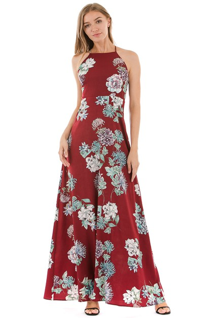 Floral sleeveless maxi dress - orangeshine.com