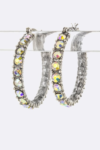 Crystal Hoop Earrings - orangeshine.com
