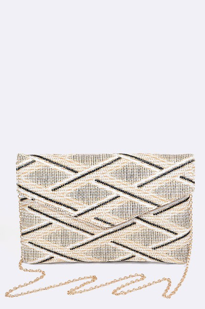 Overlapped Woven Pattern Clutch - orangeshine.com