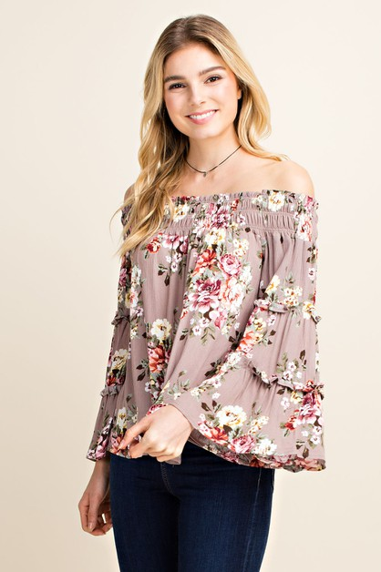 Floral Tiered Bell Sleeve Blouse - orangeshine.com