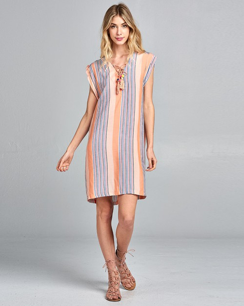 Stripe Lace Up Dress - orangeshine.com