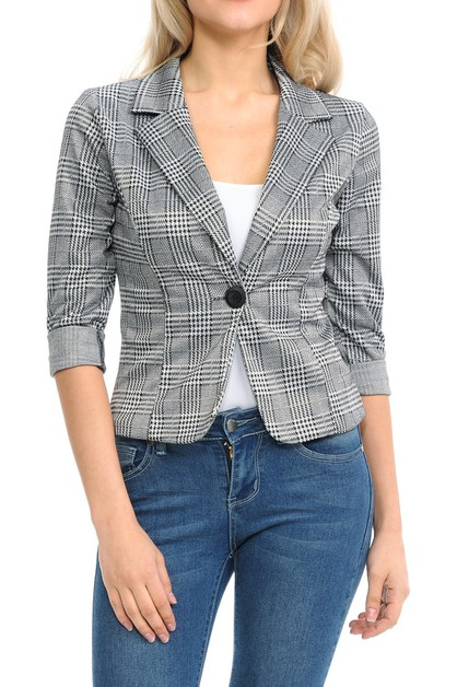 Casual Plaid Sleeve Jacket - orangeshine.com