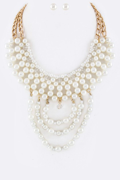 Bead and Pearl Layer Necklace Set - orangeshine.com