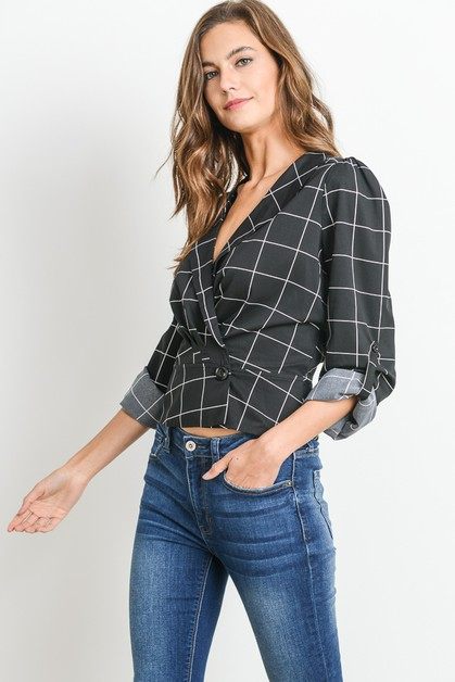 Plaid Vneck Wrap Top - orangeshine.com