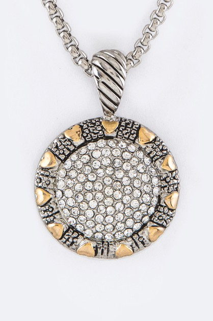 Pave Crystals Pendant Necklace - orangeshine.com