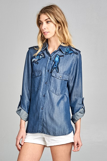 Embroidered Denim Shirt - orangeshine.com