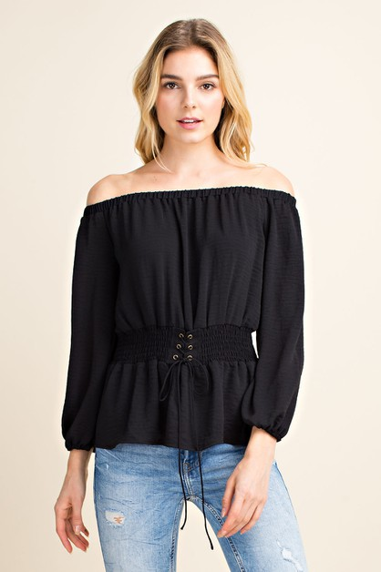Off Shoulder Corset Blouse - orangeshine.com