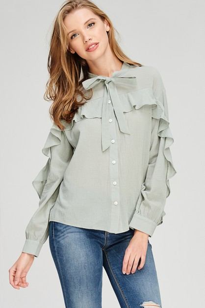 Ruffled Neck Tie Button Down Top  - orangeshine.com