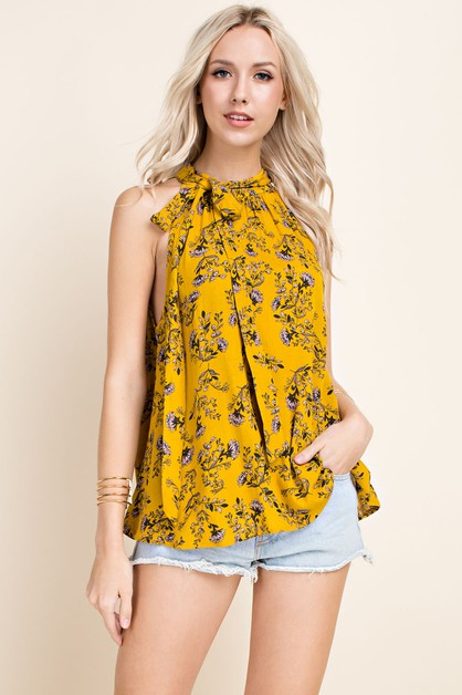 Floral high Neck Tied Blouse - orangeshine.com