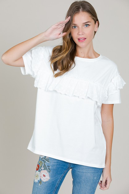 LACE TRIM RUFFLE TOP - orangeshine.com