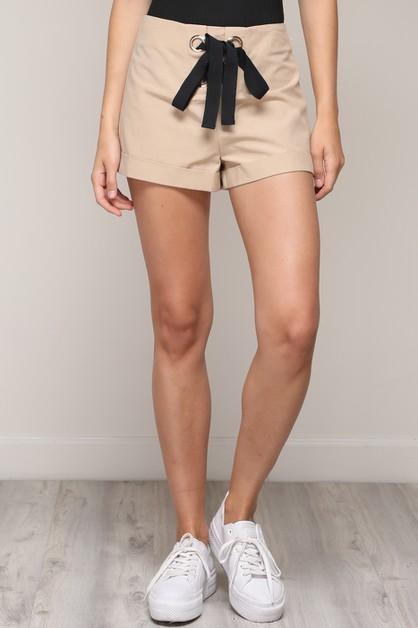 LACE UP RIBBON SHORTS - orangeshine.com