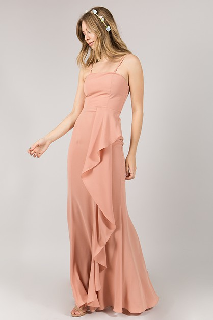 Long Strapless With Mock-Wrap Skirt - orangeshine.com