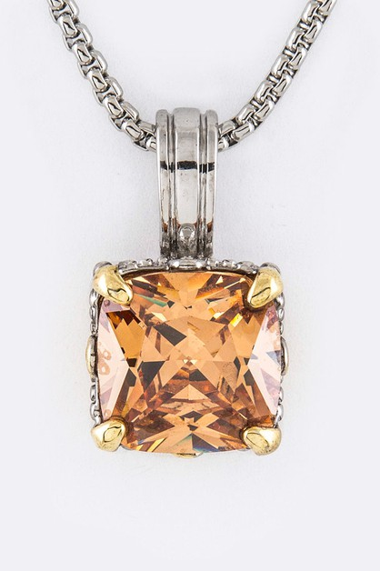 Cushion Cut CZ Pendant Necklace - orangeshine.com