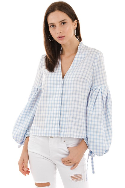 Checked v-neck blouse - orangeshine.com