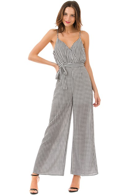 Gingham Strapped Jumpsuit - orangeshine.com