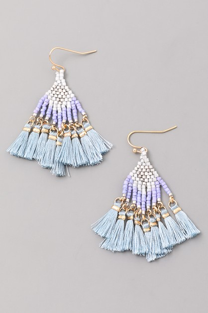 KITE BEAD TASSEL EARRINGS - orangeshine.com