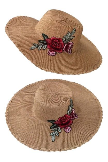 Flower Embroidery Sun Straw Hat - orangeshine.com