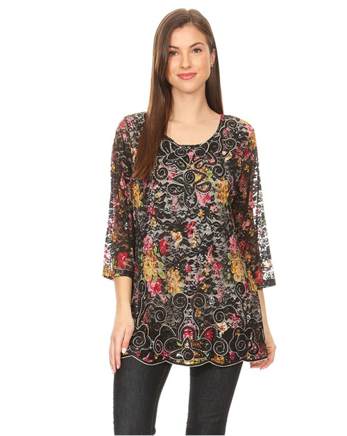 floral print lace tunic top - orangeshine.com