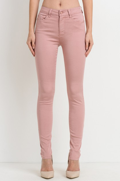 Basic 5 Pocket Color Skinny Pants - orangeshine.com