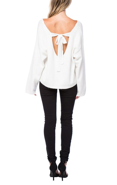 Clara Back Tie Sweater - orangeshine.com