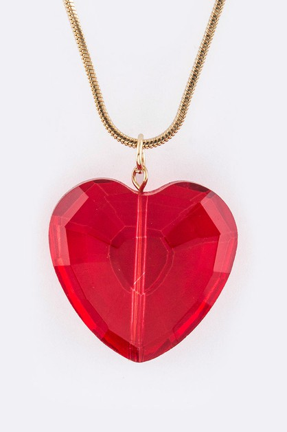 Crystal Heart Pendant Necklace - orangeshine.com