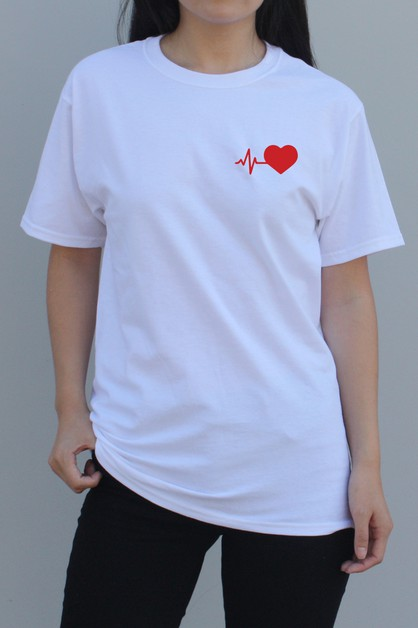 Heartbeat Graphic Tee in Red - orangeshine.com
