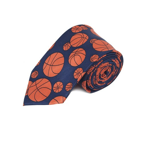 Basketball Navy Novelty Tie - orangeshine.com