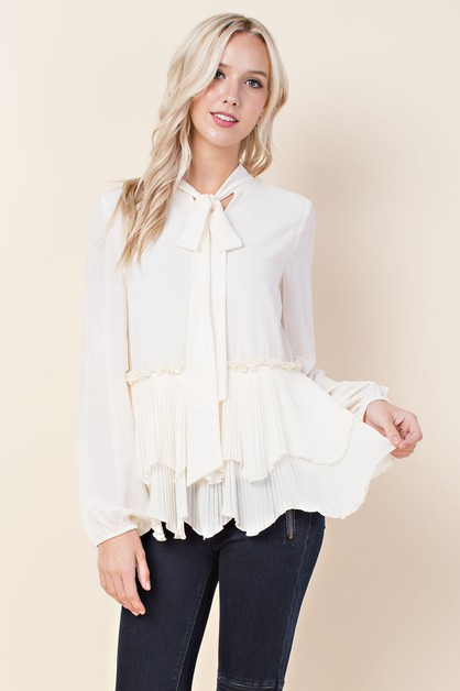 Chiffon Tiered Lace Blouse - orangeshine.com