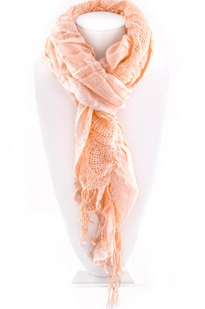 Lurex Mix Knit Crinkle Scarf - orangeshine.com