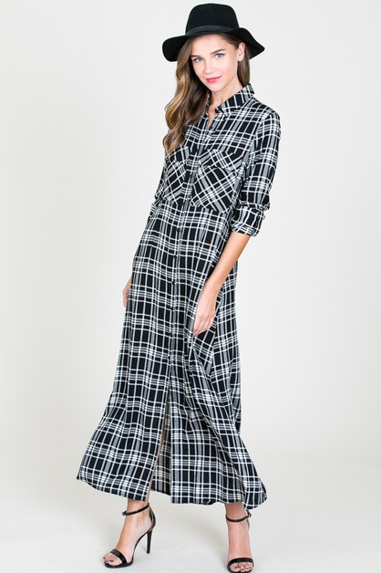 OVERSIZED CHECKERED BUTTON UP DRESS - orangeshine.com