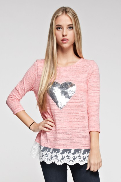 SEQUINED HEART KNIT TOP  - orangeshine.com