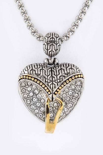 Pave Crystals Heart Pendant Necklace - orangeshine.com