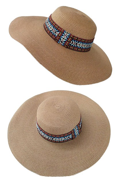 Tribal Accent Sun Straw Hat - orangeshine.com