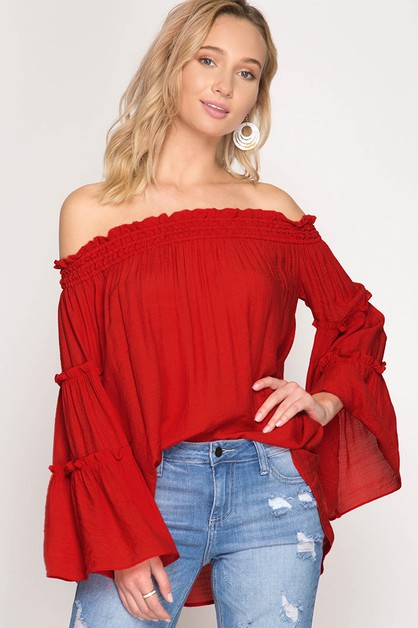 SL6547-BELL SLEEVE OFF SHOULDER TOP - orangeshine.com