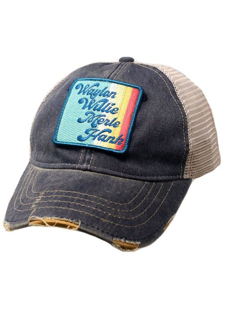 VINTAGE STRIPE WAYLON WILLIE - NAVY - orangeshine.com